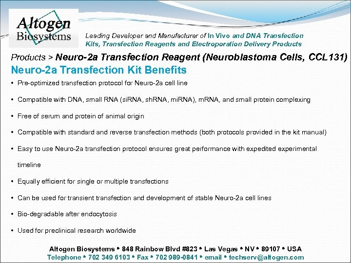Leading Developer and Manufacturer of In Vivo and DNA Transfection Kits, Transfection Reagents and