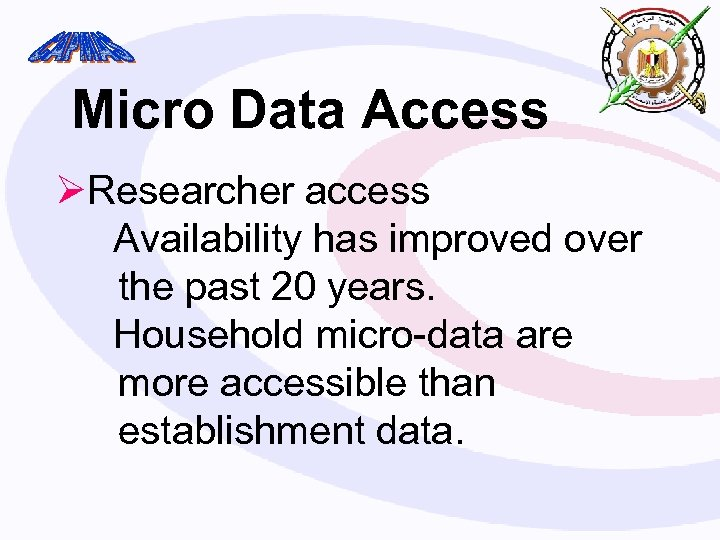 Micro Data Access ØResearcher access Availability has improved over the past 20 years. Household