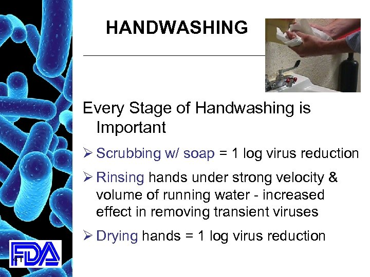 HANDWASHING Every Stage of Handwashing is Important Ø Scrubbing w/ soap = 1 log