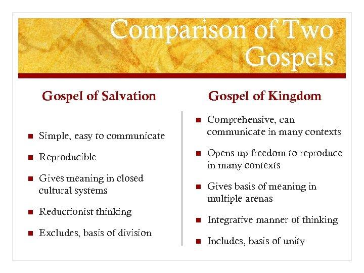 Comparison of Two Gospels Gospel of Salvation Gospel of Kingdom n Comprehensive, can communicate