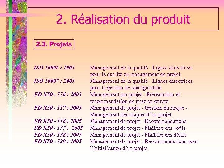 2. Réalisation du produit 2. 3. Projets ISO 10006 : 2003 Management de la