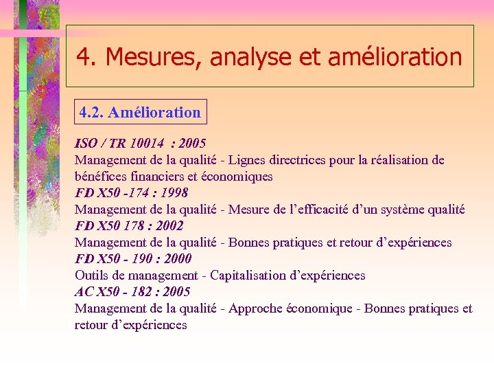 4. Mesures, analyse et amélioration 4. 2. Amélioration ISO / TR 10014 : 2005