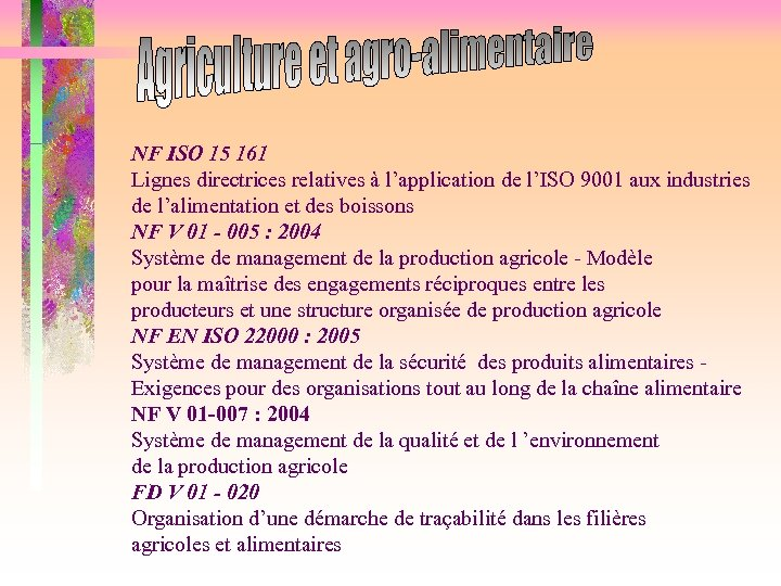 NF ISO 15 161 Lignes directrices relatives à l'application de l'ISO 9001 aux industries