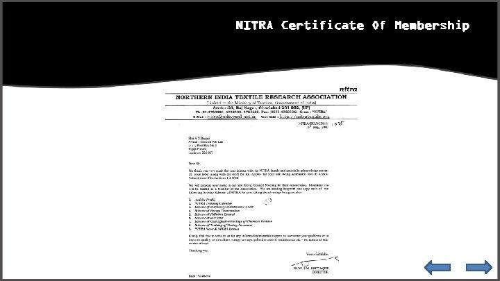 NITRA Certificate Of Membership