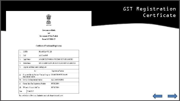 GST Registration Certficate