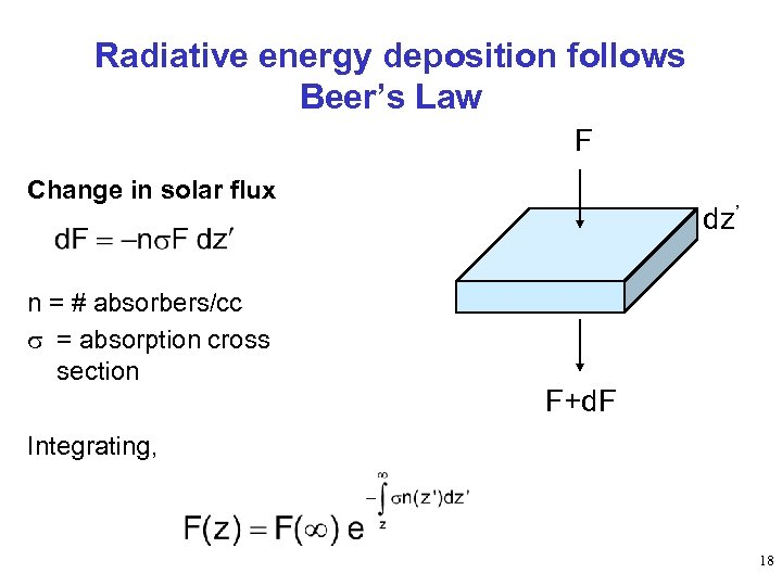 Radiative energy deposition follows Beer's Law F Change in solar flux n = #
