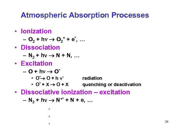 Atmospheric Absorption Processes • Ionization – O 2 + h O 2+ + e*,