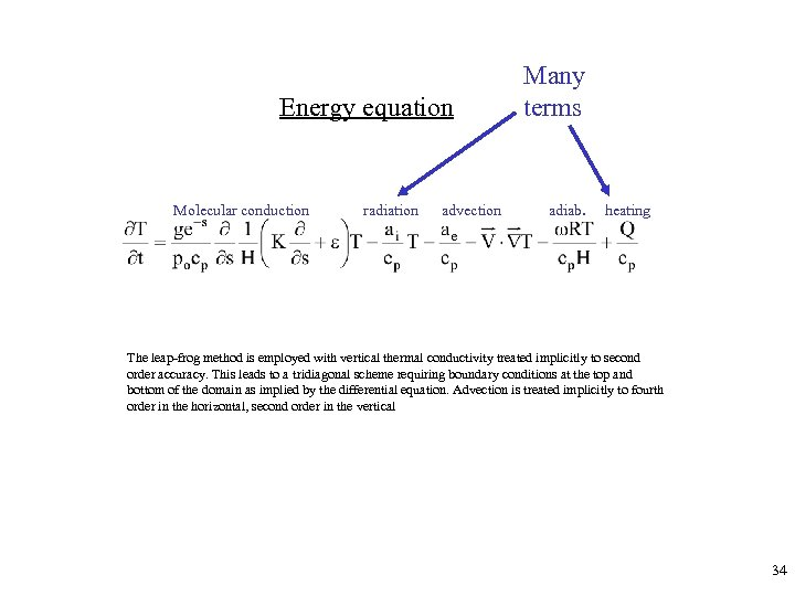 Energy equation Molecular conduction radiation advection Many terms adiab. heating The leap-frog method is