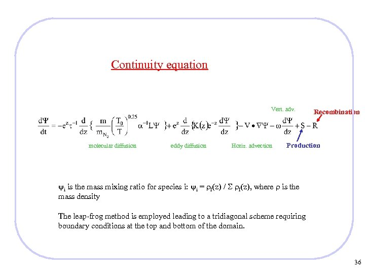 Continuity equation Vert. adv. molecular diffusion eddy diffusion Horiz. advection Recombination Production i is