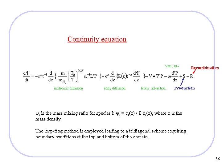 Continuity equation Vert. adv. molecular diffusion eddy diffusion Horiz. advection Recombination Production i is