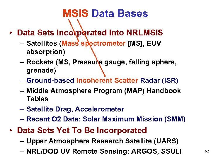 MSIS Data Bases • Data Sets Incorporated Into NRLMSIS – Satellites (Mass spectrometer [MS],