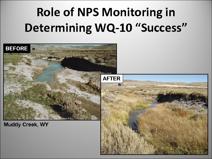"""Role of NPS Monitoring in Determining WQ-10 """"Success"""" BEFORE AFTER Muddy Creek, WY"""