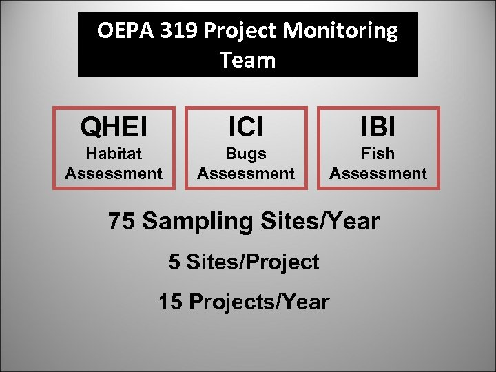 OEPA 319 Project Monitoring Team QHEI ICI IBI Habitat Assessment Bugs Assessment Fish Assessment