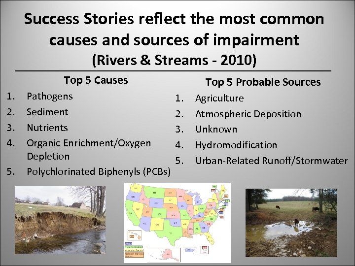 Success Stories reflect the most common causes and sources of impairment (Rivers & Streams