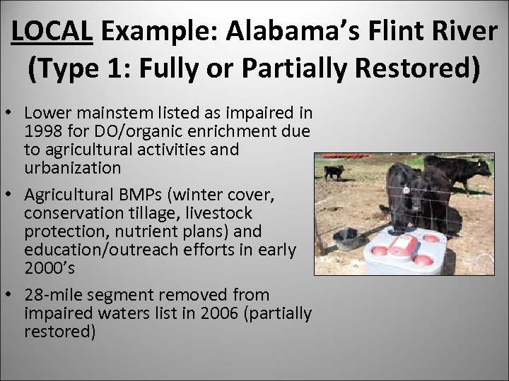 LOCAL Example: Alabama's Flint River (Type 1: Fully or Partially Restored) • Lower mainstem