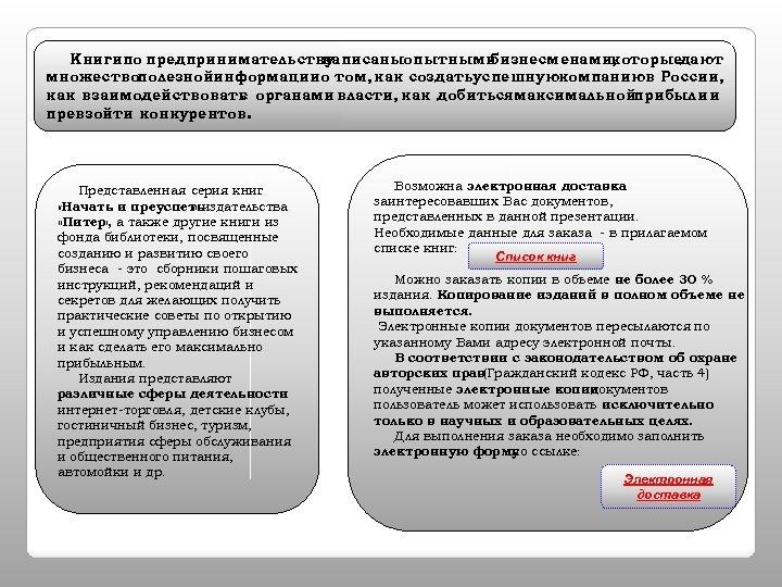 Книгипо предпринимательству написаныопытными бизнесменами, которыедают множествополезнойинформациио том, как создатьуспешнуюкомпаниюв России, как взаимодействовать органами власти,