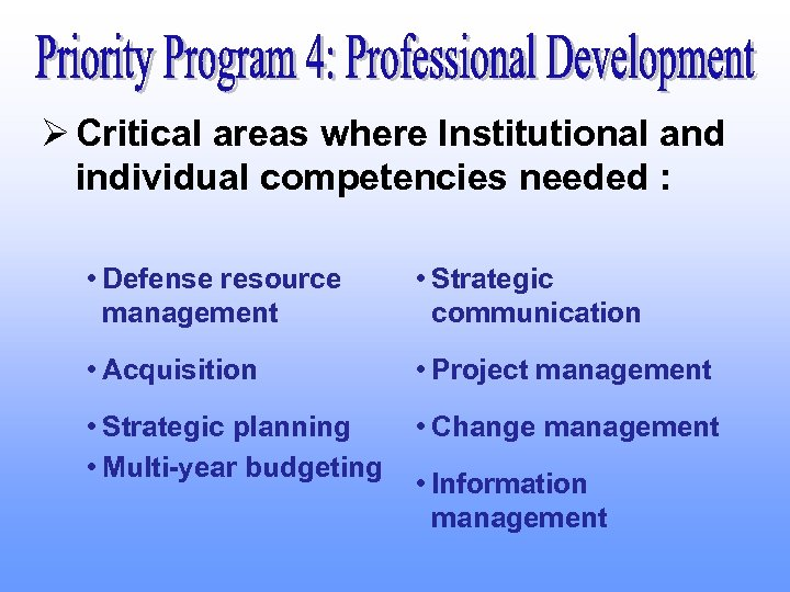 Ø Critical areas where Institutional and individual competencies needed : • Defense resource management