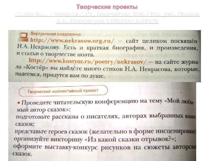 Творческие проекты Ланин Б. А. , Устинова Л. Ю. , Шамчикова В. М. /