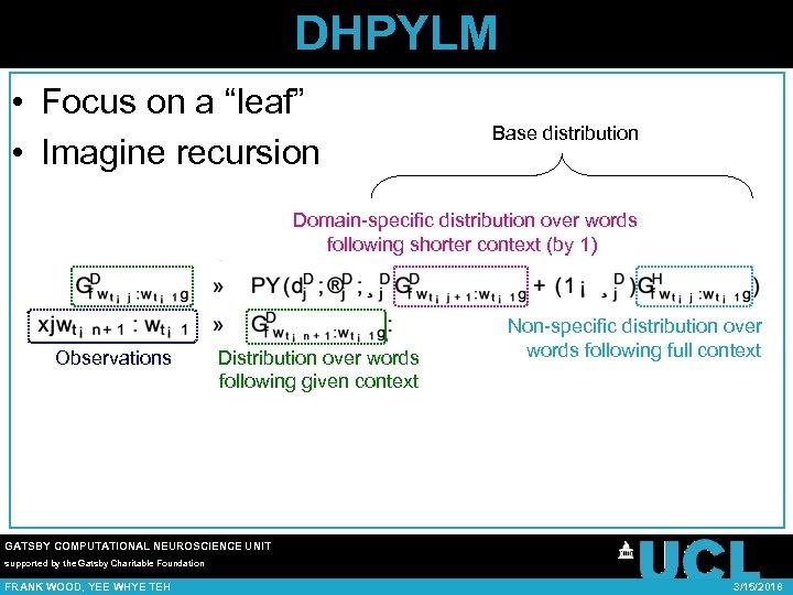 "DHPYLM • Focus on a ""leaf"" • Imagine recursion Base distribution Domain-specific distribution over"