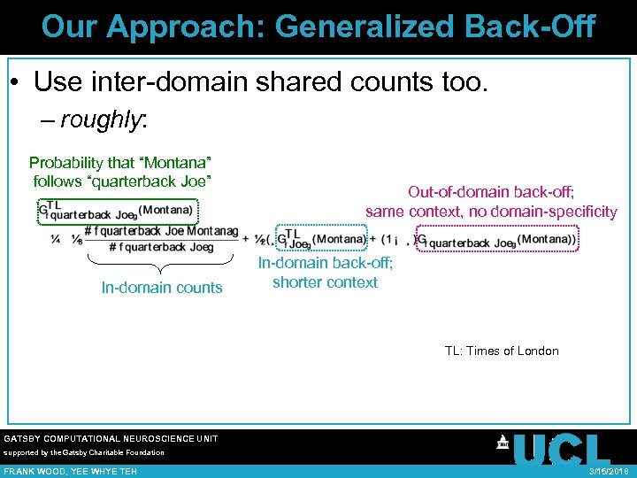 Our Approach: Generalized Back-Off • Use inter-domain shared counts too. – roughly: Probability that