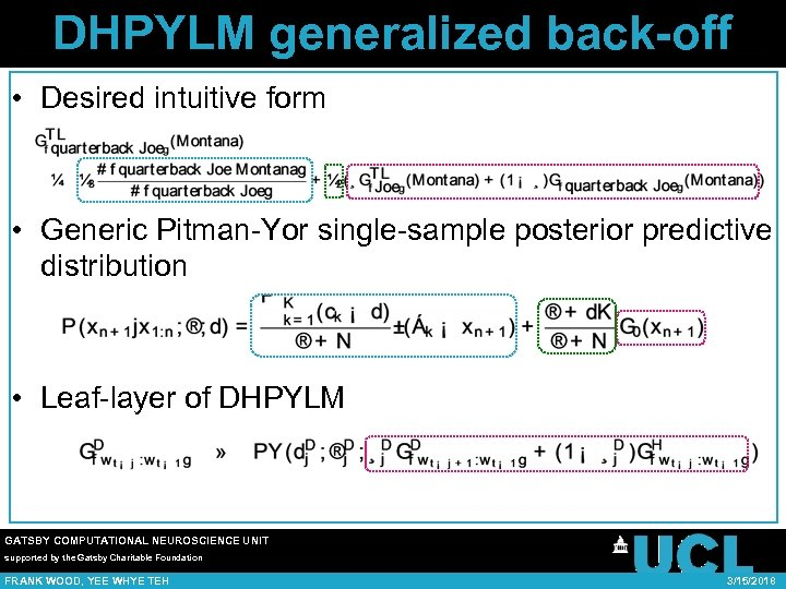 DHPYLM generalized back-off • Desired intuitive form • Generic Pitman-Yor single-sample posterior predictive distribution