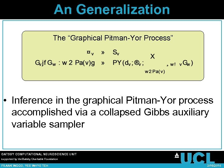 "An Generalization The ""Graphical Pitman-Yor Process"" • Inference in the graphical Pitman-Yor process accomplished"