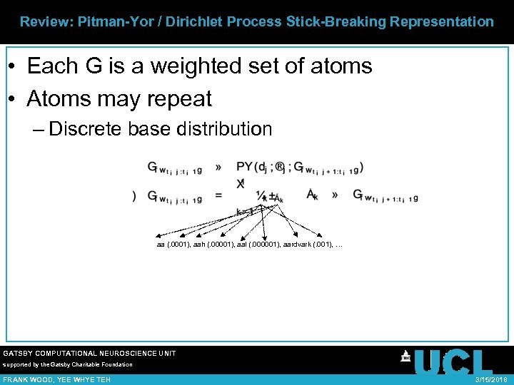 Review: Pitman-Yor / Dirichlet Process Stick-Breaking Representation • Each G is a weighted set