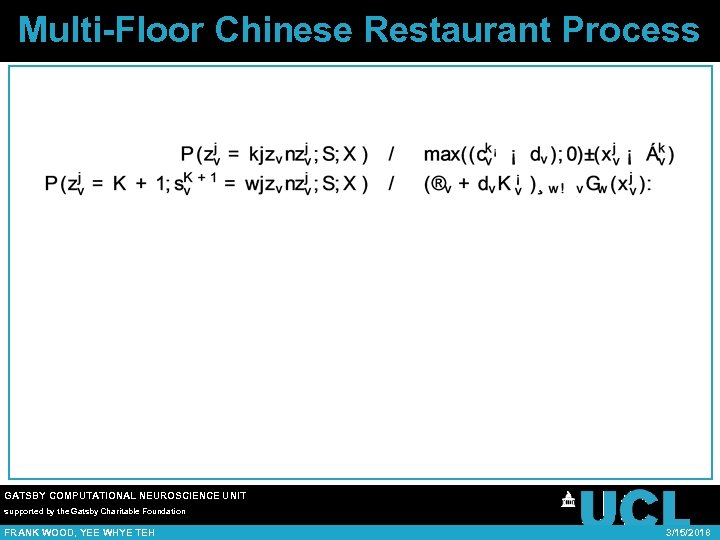Multi-Floor Chinese Restaurant Process GATSBY COMPUTATIONAL NEUROSCIENCE UNIT supported by the Gatsby Charitable Foundation