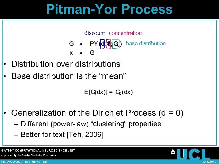 Pitman-Yor Process discount concentration base distribution • Distribution over distributions • Base distribution is