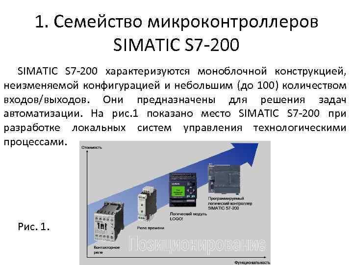1. Семейство микроконтроллеров SIMATIC S 7 -200 характеризуются моноблочной конструкцией, неизменяемой конфигурацией и небольшим