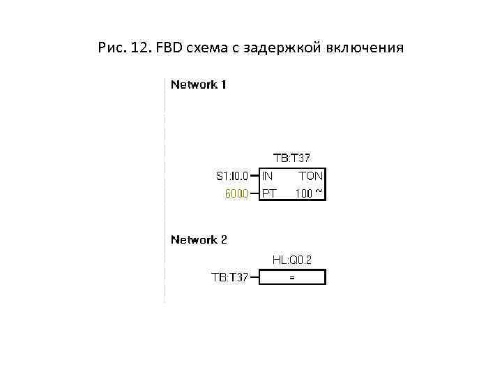 Рис. 12. FBD схема с задержкой включения