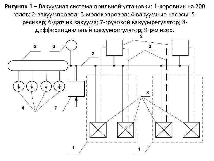 Рисунок 1 – Вакуумная система доильной установки: 1 -коровник на 200 голов; 2 -вакуумпровод;