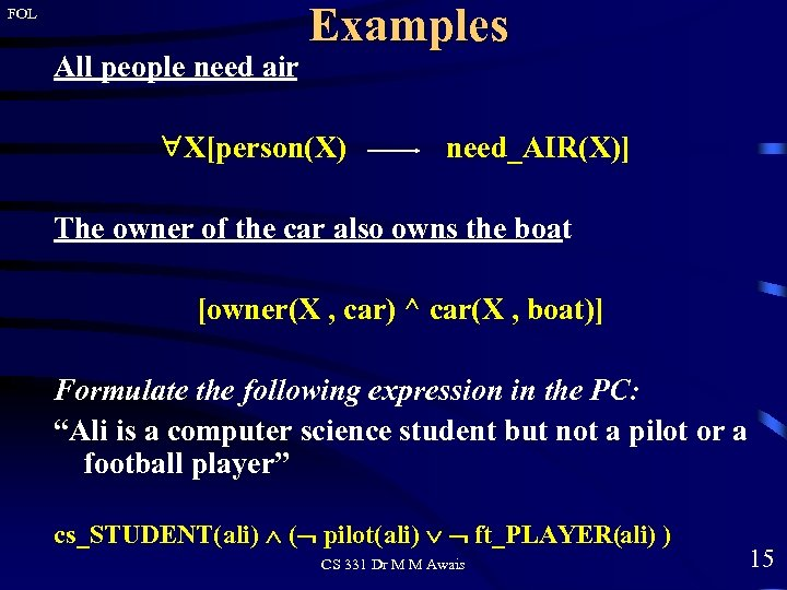 FOL All people need air Examples X[person(X) need_AIR(X)] The owner of the car also