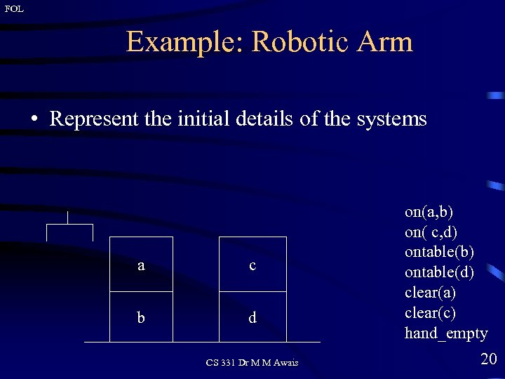 FOL Example: Robotic Arm • Represent the initial details of the systems a c