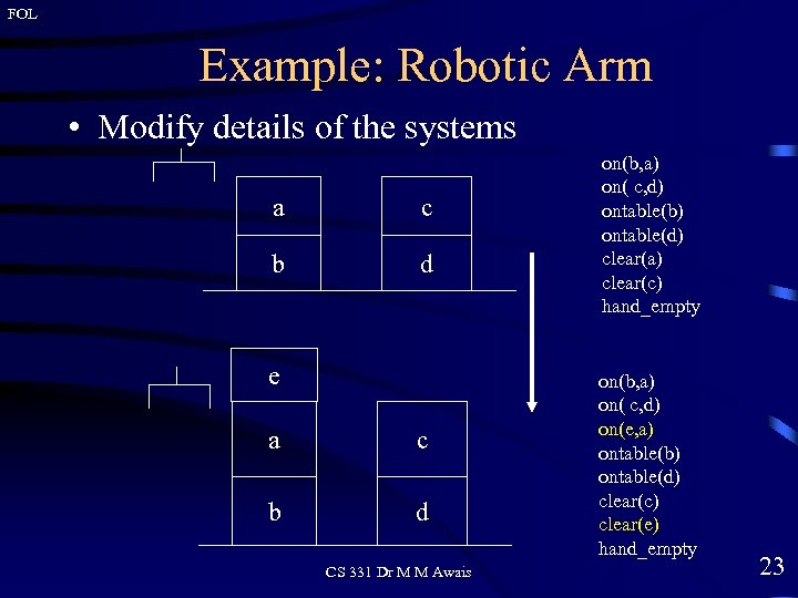FOL Example: Robotic Arm • Modify details of the systems a c b d