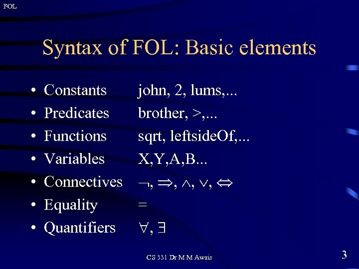 FOL Syntax of FOL: Basic elements • • Constants Predicates Functions Variables Connectives Equality
