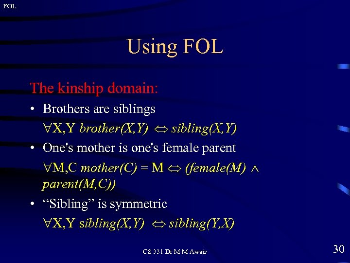 FOL Using FOL The kinship domain: • Brothers are siblings X, Y brother(X, Y)