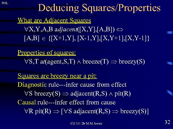 FOL Deducing Squares/Properties What are Adjacent Squares X, Y, A, B adjacent([X, Y], [A,