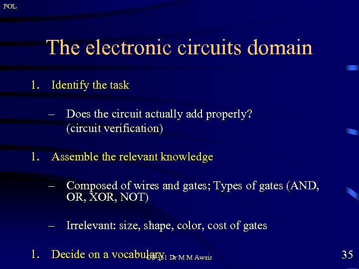 FOL The electronic circuits domain 1. Identify the task – Does the circuit actually
