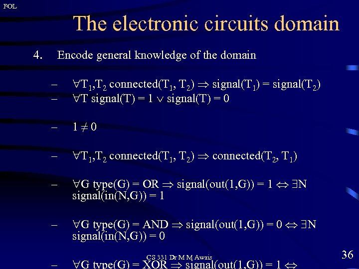FOL The electronic circuits domain 4. Encode general knowledge of the domain – –