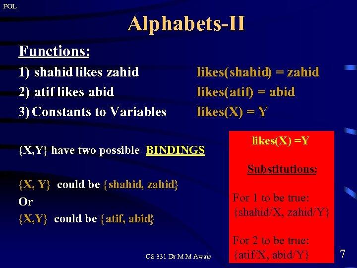 FOL Alphabets-II Functions: 1) shahid likes zahid 2) atif likes abid 3) Constants to