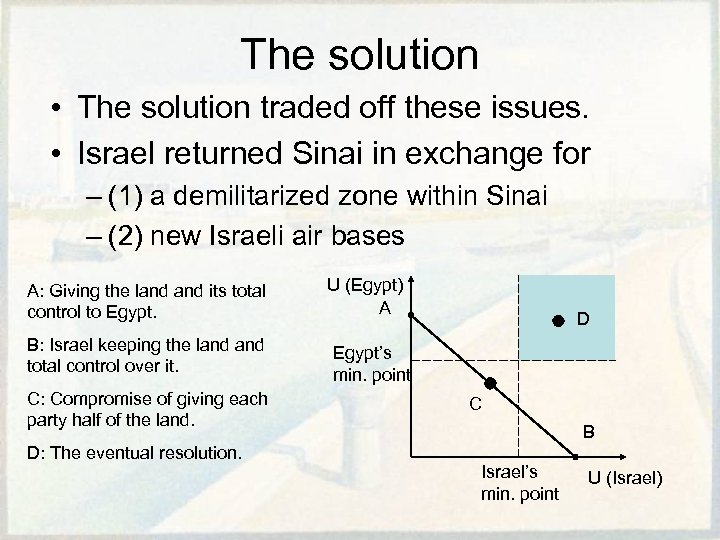 The solution • The solution traded off these issues. • Israel returned Sinai in
