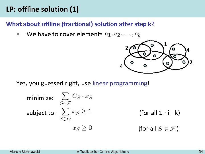 LP: offline solution (1) What about offline (fractional) solution after step k? § We