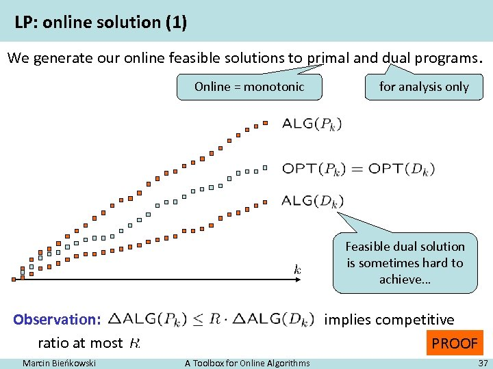 LP: online solution (1) We generate our online feasible solutions to primal and dual