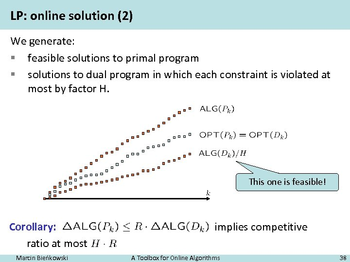 LP: online solution (2) We generate: § feasible solutions to primal program § solutions