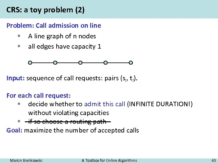 CRS: a toy problem (2) Problem: Call admission on line § A line graph