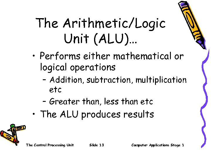 The Arithmetic/Logic Unit (ALU)… • Performs either mathematical or logical operations – Addition, subtraction,