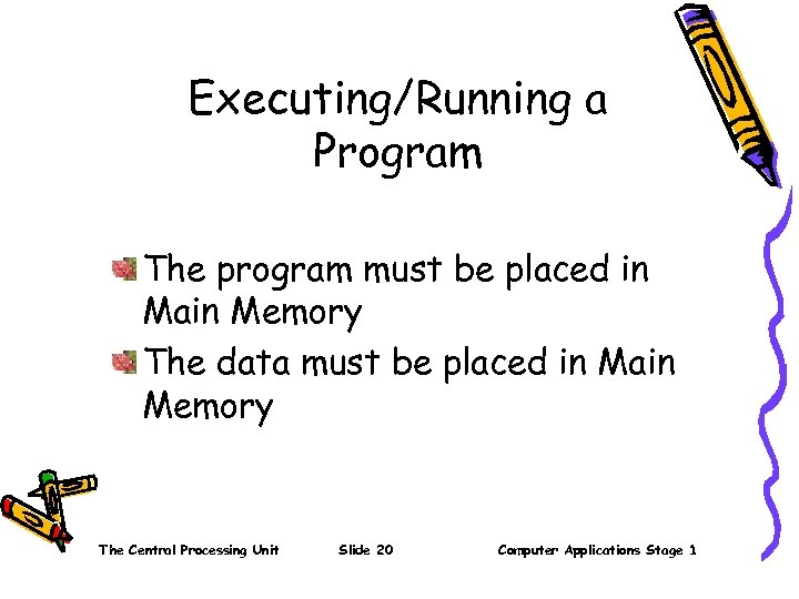 Executing/Running a Program The program must be placed in Main Memory The data must
