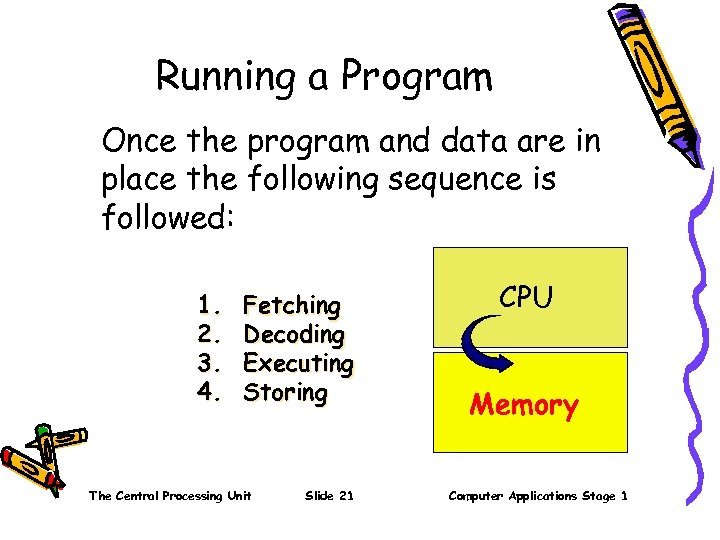 Running a Program Once the program and data are in place the following sequence
