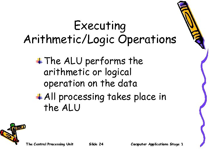 Executing Arithmetic/Logic Operations The ALU performs the arithmetic or logical operation on the data